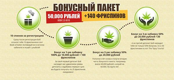 Приветственный бонус до 50000 рублей + 140 бесплатных вращений