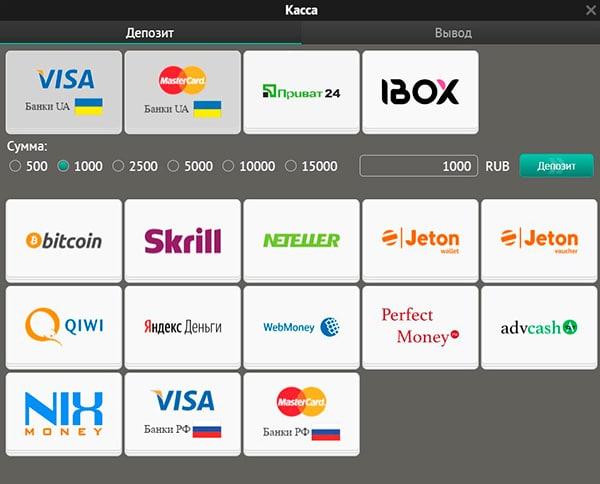 Способы пополнения счета - от Bitcoin до Visa